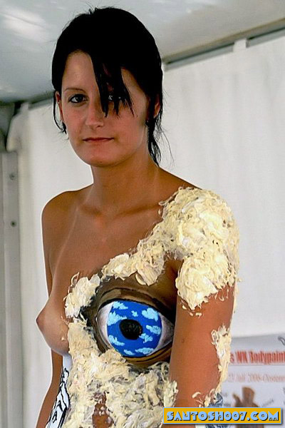 Nude funny body painting girl photo