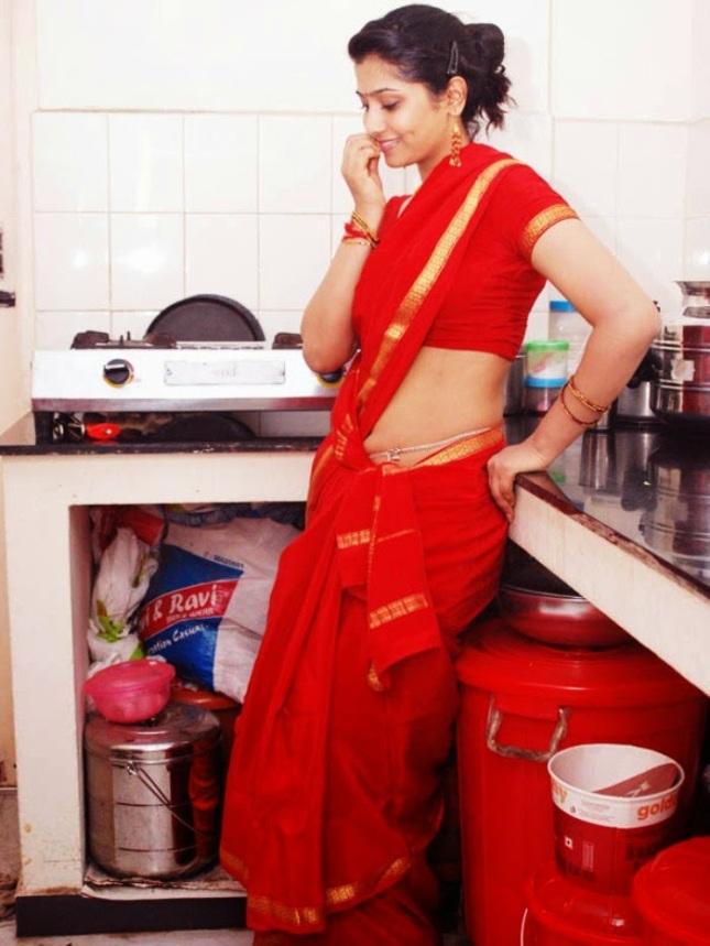 Hot Telugu Housewife in Red Saree